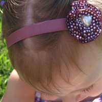 brown and white polka dot headband- baby headband- elastic