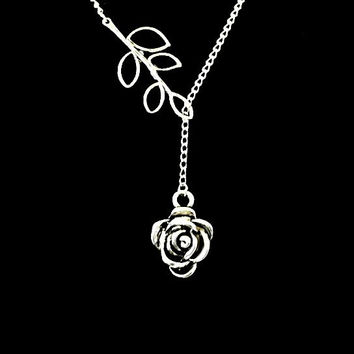 Blooming Rose Lariat Necklace