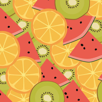 Kiwis, Watermelon & Oranges Art Print by KJ53321 | Society6