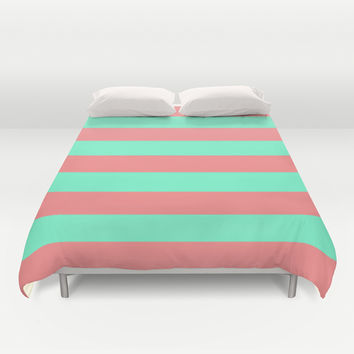 Stripe Coral Red Mint Green Duvet Cover by Beautiful Homes