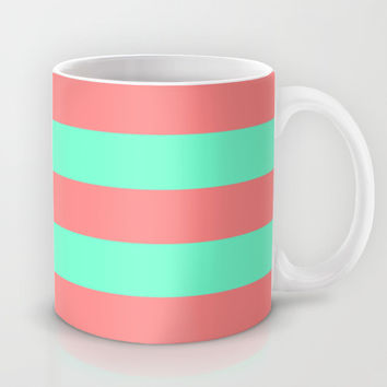 Stripe Coral Red Mint Green Mug by Beautiful Homes