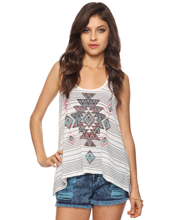 Tribal Striped Trapeze Tank