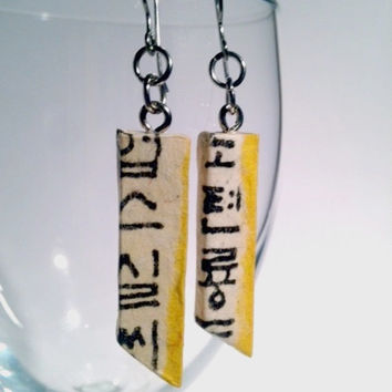 Yellow Hangeul Hanji Paper Earrings OOAK Patchwork Korean Characters Asian Hypoallergenic hooks Lightweight Dangle Earrings