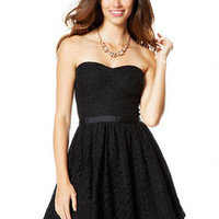 Lace Strapless Ribbon Belt Party Dress