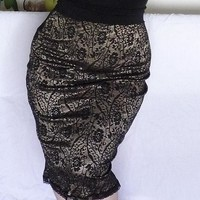 Golden Black Lace Pencil Skirt Plus Size