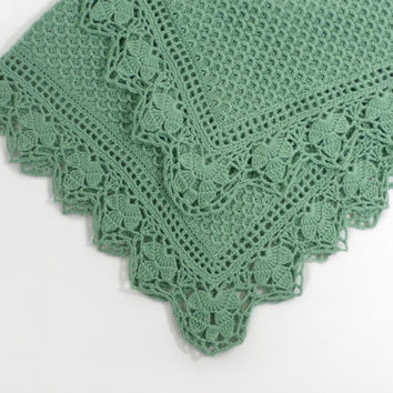 Knitted Baby Blanket - Green