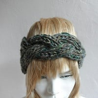 Knit Headband, Chunky Headband, Headwrap, Ear Warmer in Blended Gray Green, Winter Accessories