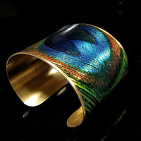 Photo Cuff, Brass Cuff, Wide Cuff Bracelet, Altered Art Jewelry, Photo Jewelry - PEACOCK Feather - Sealed in Resin - FREE SHIPPING