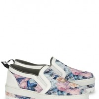 MSGM Pink and blue floral print canvas skate shoes