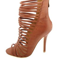 HeartSoul Super Strappy Caged High Heels by Charlotte Russe - Cognac