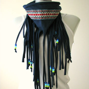 Navy Fringe String Infinity Scarf with Native print trim and beads, Fringe t shirt necklace
