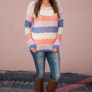 Early Morning Sweater, Coral/Ivory