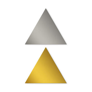 Triangle Sticker (Set of 32) 1 inch Envelope seal, Gold packaging label, Silver wedding decoration
