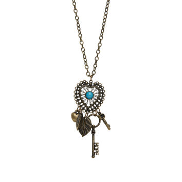 Aeropostale Antiqued Heart Long-Strand Necklace - Bermuda Turquoise, One
