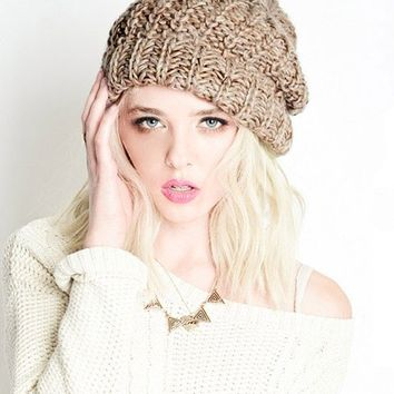 Beige Mix Chunky Knit Beanie | Knit Beanies on Bogatte