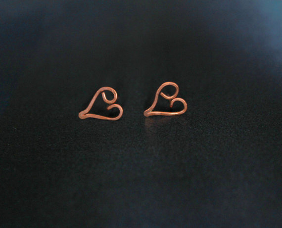 Love Ear Rings Stud Copper Wire Metal Jewelry Post Ear Rings Contemporary modern GIfts for her Handmade Luxe Style