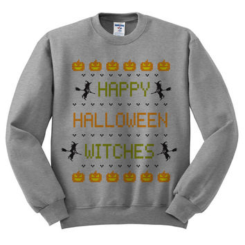 Crewneck Happy Halloween Witches Grey Sweatshirt Gray