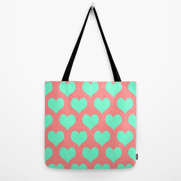 Hearts of Love Coral Mint Tote Bag by Beautiful Homes