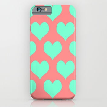 Hearts of Love Coral Mint iPhone & iPod Case by Beautiful Homes