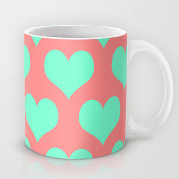 Hearts of Love Coral Mint Mug by Beautiful Homes