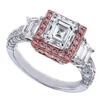 Engagement Ring - Asscher Cut Diamond Engagement Ring Heirloom Halo Setting with Trapezoids side stones in 14K White and Rose Gold - ES253ACPG