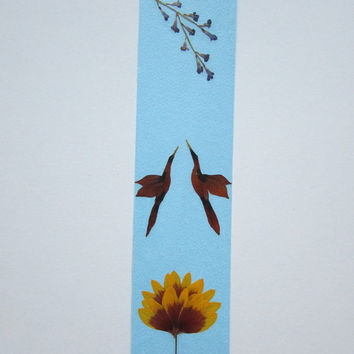 "Handmade unique bookmark ""I want to tell you something"" - Decorated with dried pressed flowers and herbs - Original art collage."