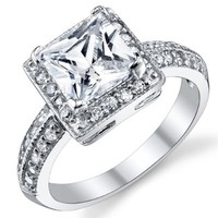 2 Carat Princess Cut CZ Sterling Silver 925 Wedding Engagement Ring Sizes 4 to 11