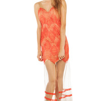 Pretty In Lace Maxi Dress in Coral