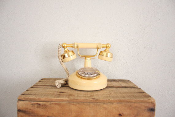Vintage 1970s Rotary Phone in Cream and Gold . Princess Phone