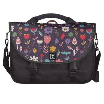 Modern Abstract Spring Flower Pattern Laptop Messenger Bag