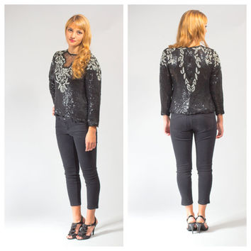 Black silver sequined beaded top long sleeves 80s glam party blouse