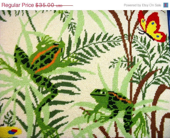 20% OFF SUMMER SALE Needlepoint Wall Hanging Rain Forest Ecological Habitat