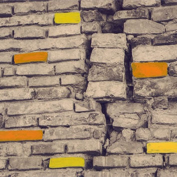 Hand-colored photograph of a brick wall/hand-painted/sepia background/photo art/vintage styled/wall decor/red/home decor/autumn decor/orange