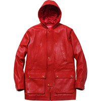 Supreme: Hooded Leather Parka - Red