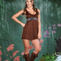 TAN TRIBAL TROUBLE FRINGE HALLOWEEN COSTUME SET @ Amiclubwear costume Online Store,sexy costume,women's costume,christmas costumes,adult christmas costumes,santa claus costumes,fancy dress costumes,halloween costumes,halloween costume ideas,pirate costum