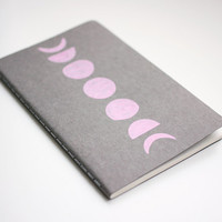 Notebook, Moon Phases, Pocket Journal, Pink Moon Illustration, Hand Drawn, OOAK