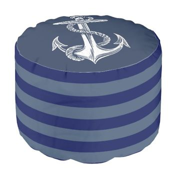 Vintage Anchor Navy Gray Blue Stripe Pouf Seat