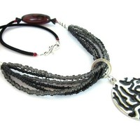 Red, Black &amp; Silver Necklace - by ATouchofBling on madeit