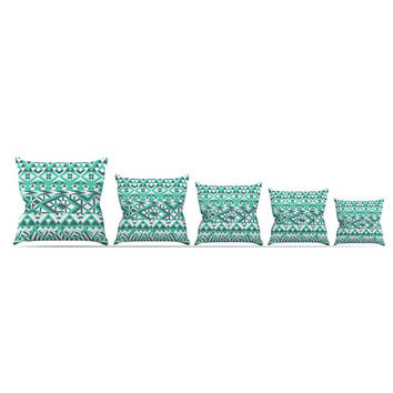 "Pom Graphic Design ""Tribal Simplicity"" Teal Outdoor Throw Pillow"