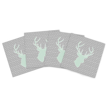 "Pellerina Design ""Winter Deer"" Gray Green Indoor/Outdoor Place Mat (Set of 4)"