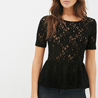 LOVE 21 Textured Lace Peplum Top