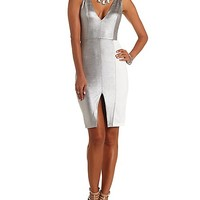 Metallic Color Block Bodycon Dress by Charlotte Russe - Silver Combo
