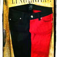 Tripp Nyc Black and Red Skinny Jeans