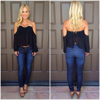 Cascading Off Shoulder Blouse - BLACK