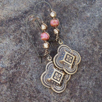Pink Coral Renaissance - Metal Medallion dangle Earrings - Bohemian