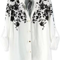 Floral V Neck Button Down Shirt - OASAP.com