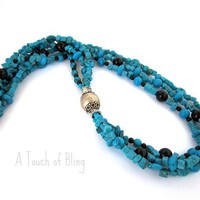 Turquoise 3 Row Necklace - by ATouchofBling on madeit
