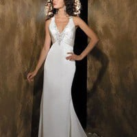 V-Neck Floor Length Column or Sheath Chiffon and Charmeuse Gown Style 840  : $186.00 at VikiDress.com.