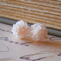 Blush Mums Stud Earrings Eggshell Off White by waterwaif on Etsy