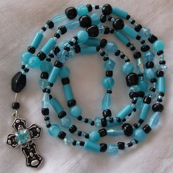 Vibrant Turquoise and black beaded Cross Pendant Necklace